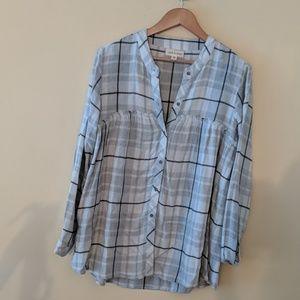 Cloth n Stone Plaid fleece tunic top
